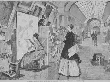 Art-Students and Copyists in the Louvre Gallery, Paris (For Harper's Weekly, January 11, 1868, p. 25)
