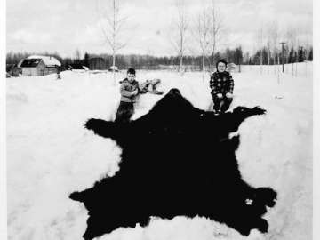 Children with Bearskin and Skull, Talkeetna, Alaska