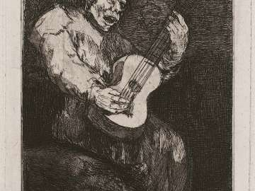 Guitarist Among a Background of Demons
