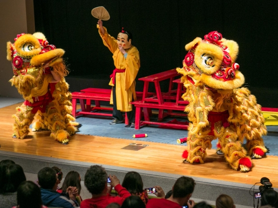 Lion dance troupe performing on stage