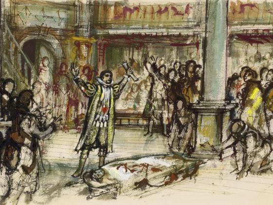 C. Walter Hodges, Julius Caesar at the Globe, Mark Antony's Oration, 1964