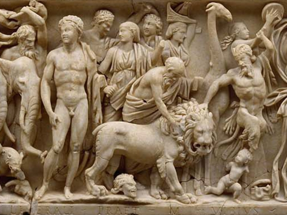 Roman, Sarcophagus with triumph of Dionysos, about A.D. 215-225