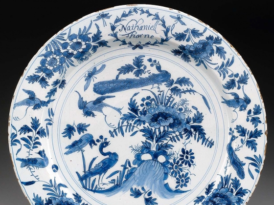 De Paauw (Peacock) Factory, Plate, about 1680