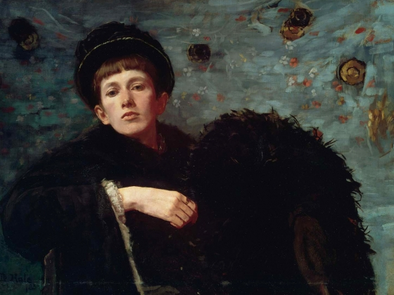 Self portrait of Ellen Day Hale, serious and austere oil on canvas
