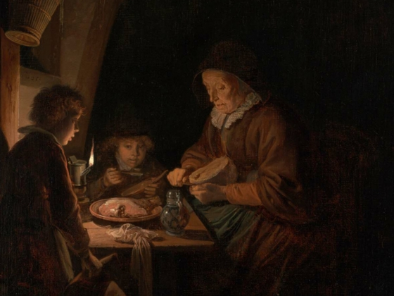 Gerrit Dou, Old Woman Cutting Bread, about 1655