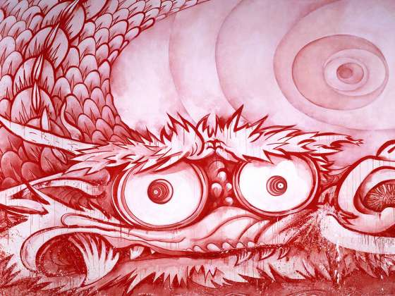 detail view of Murakami's painting, Dragon in Clouds