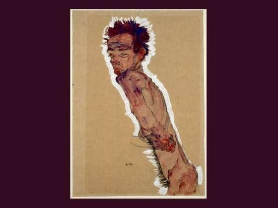 埃贡席勒的绘画,裸体自画像。