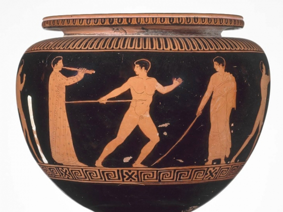 Manner of the Dinos Painter, Bowl (dinos) depicting athletes trainings, about 430-420 B.C.