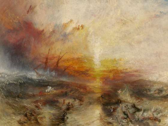 "When Turner exhibited this picture at the Royal Academy in 1840 he paired it with the following extract from his unfinished and unpublished poem ""Fallacies of Hope"" (1812)"