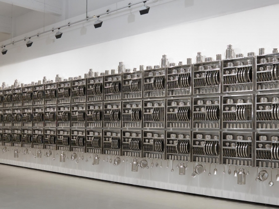 Subodh Gupta, Take Off Your Shoes and Wash Your Hands (detail), 2008