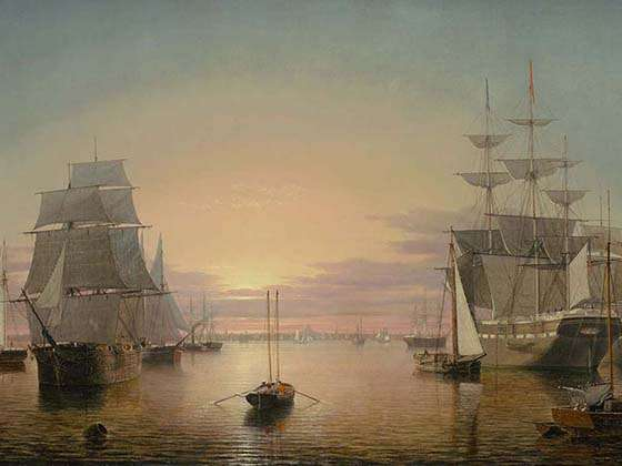 Fitz Henry Lane, Boston Harbor (detail), about 1850-55