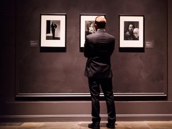 Man viewing art work