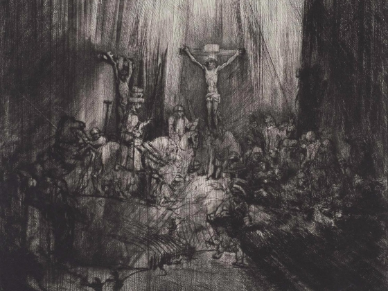 """Rembrandt Harmensz. van Rijn, """"Christ Crucified Between the Two Thieves (The Three Crosses)"""", about 1660"""