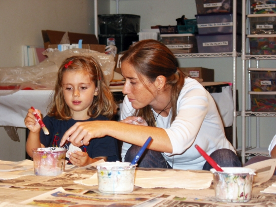 Mother and daughter work on project together in PreSchool Class