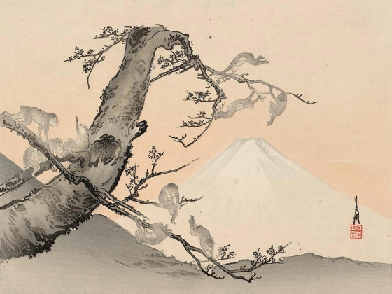 Ogata Gekko's woodblock print, Monkeys and Mount Fuji