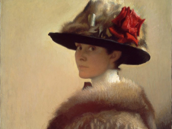 Gretchen Woodman Rogers, Woman in a Fur Hat, about 1915