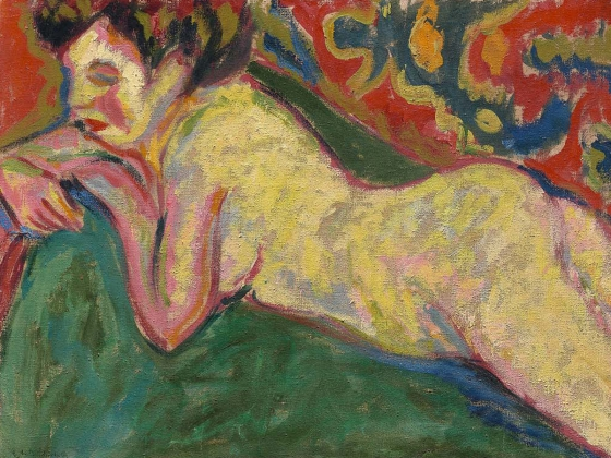 Ernst Ludwig Kirchner, Reclining Nude, 1909