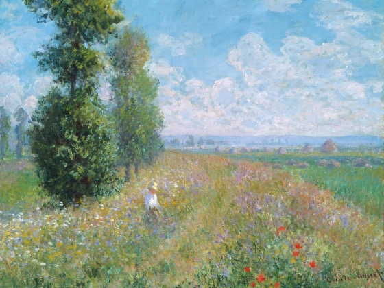 Meadow with Poplars, an oil painting of a field with trees by Claude Monet
