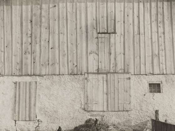 Sheeler's black-and-white photograph titled, Side of White Barn, Bucks County, Pennsylvania