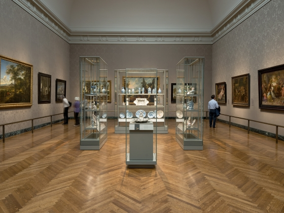 Art of the Netherlands in the 17th Century gallery, looking at the central display cases