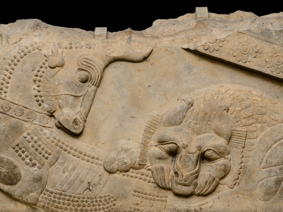 Persian stone relief of a lion and bull in combat