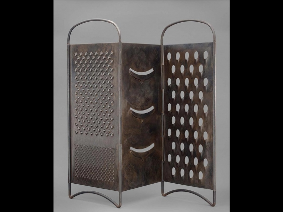 Steel human-sized, fold-out cheese grater