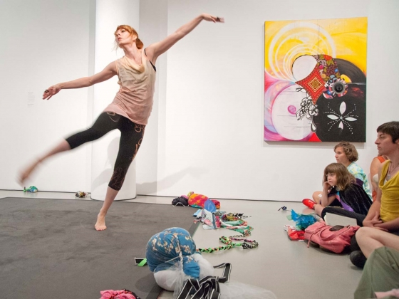 """Shinique Smith, """"Gesture I: Unraveling,"""" 2014. Choreographed performance."""