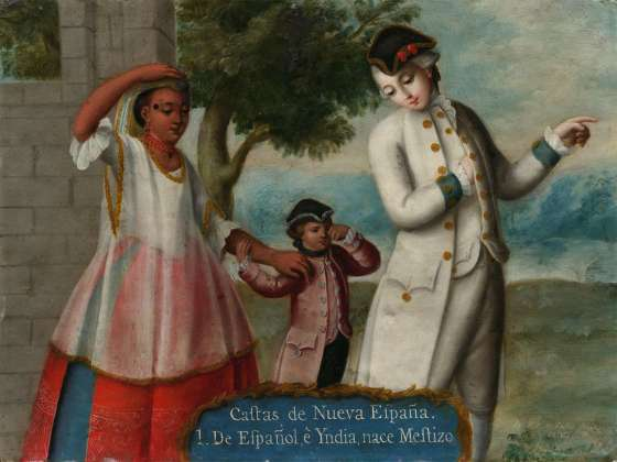Ignacio de Castro's oil on copper painting, Castas de Nueva Espana (Castes of New Spain) / 1. De Espanol e Yndia, nace Mestizo (From Spaniard and Indian, a Mestizo is born), about 1775