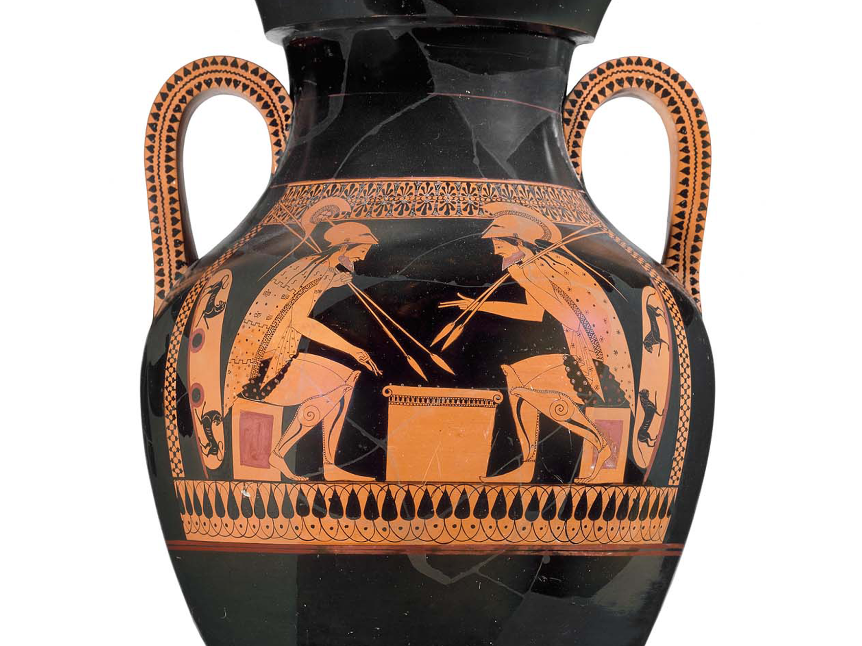 Greek two-handled jar with a painted image of Achilles and Ajax playing a board game