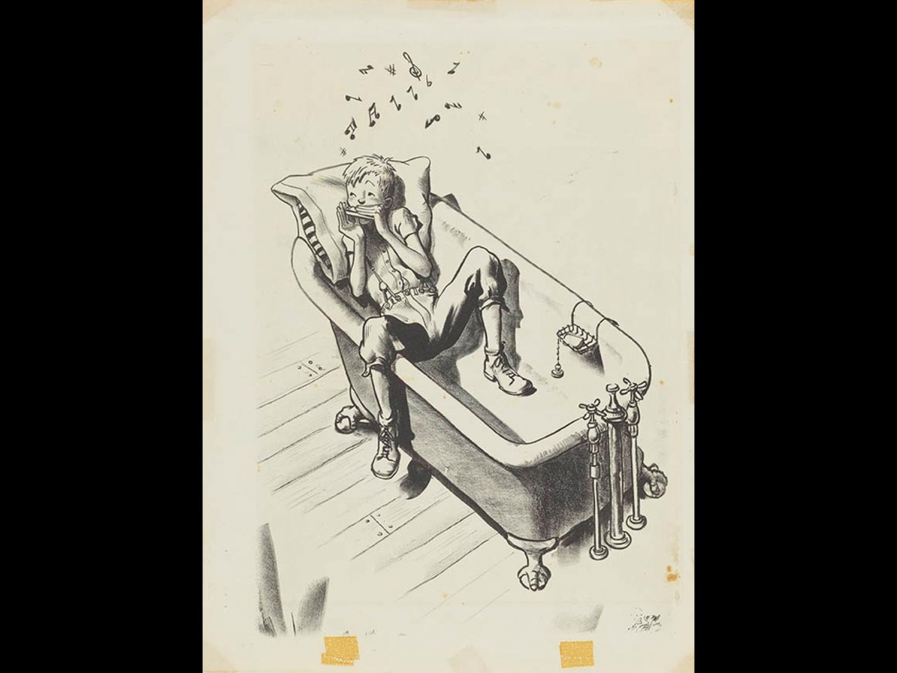 """Robert McCloskey's drawing for Lentil, """"His favorite place to practice was in the bathtub, because there the tone was improved one hundred percent"""""""