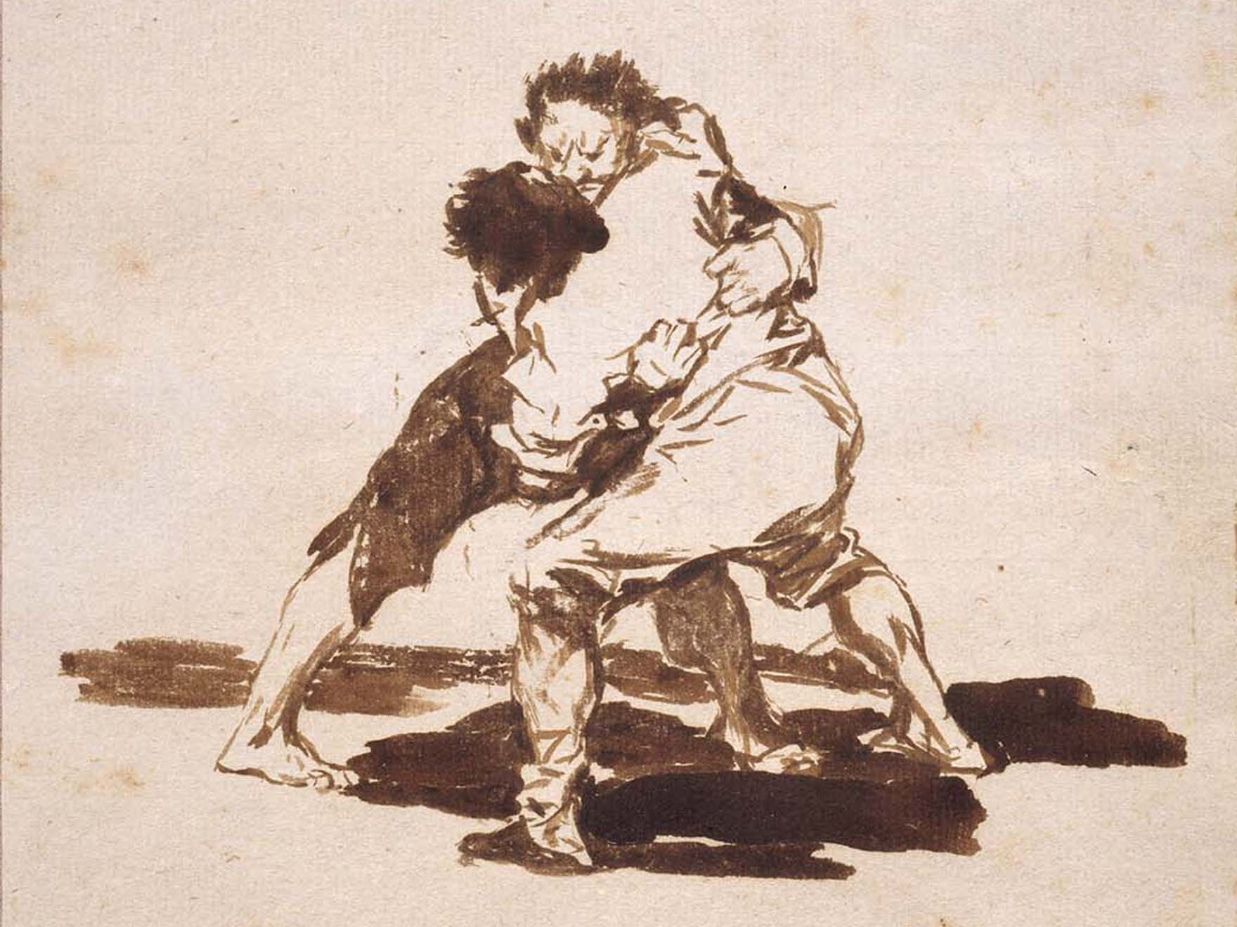 Print of two men fighting. Brush and iron gall ink with scraping on cream laid paper, pink paper mount