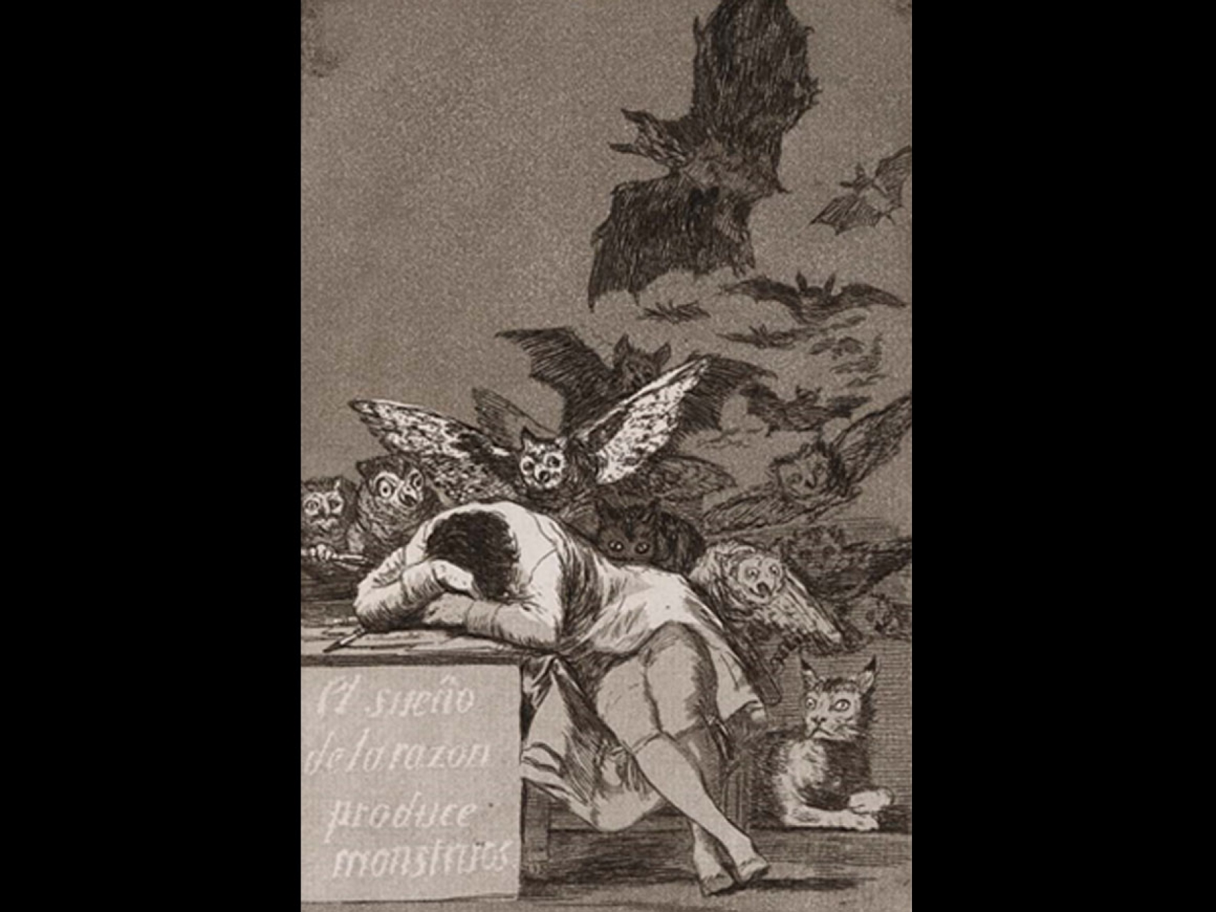 Drawing and etching in aquatint of a sleeping figure surrounded by figures of monsters