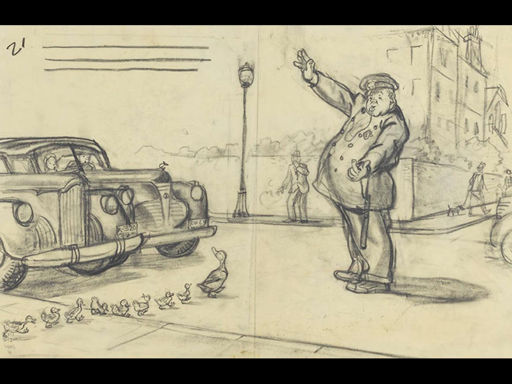 """Robert McCloskey's drawing for Make Way for Ducklings (""""He planted himself in the center of the road, raised one hand to stop traffic, and then beckoned with the other, the way policemen do, for Mrs. Mallard to cross over,"""")"""