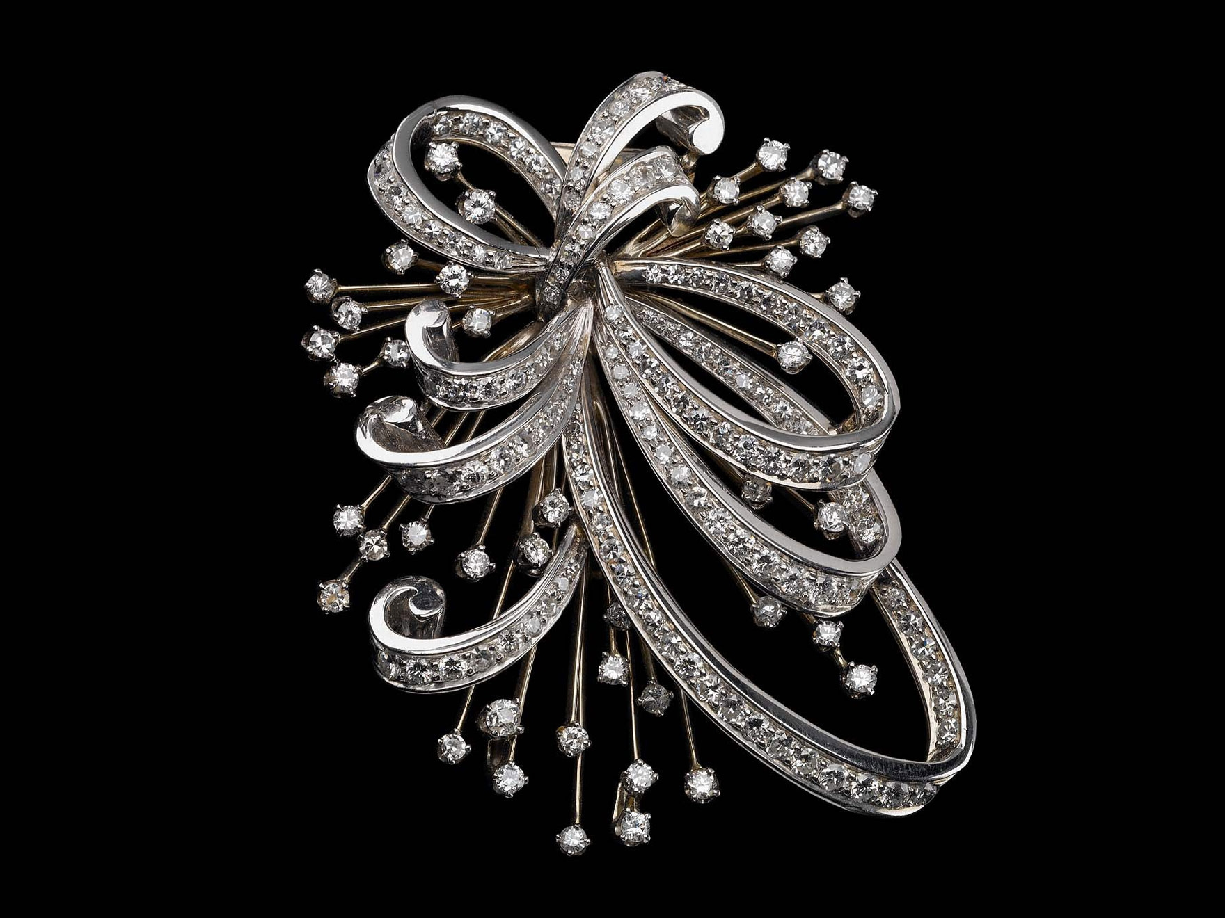 Early 1950s white gold and diamond brooch from Trabert & Hoeffer, Inc.-Mauboussin