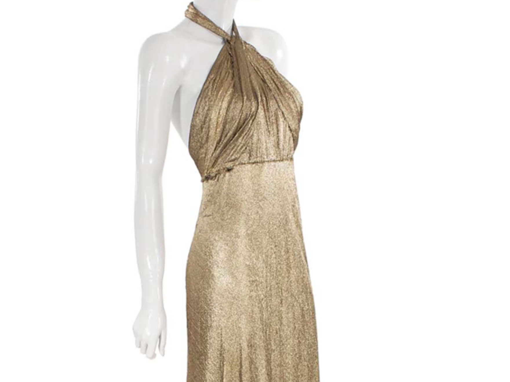 1937 gold lamé evening gown designed by Edith Head