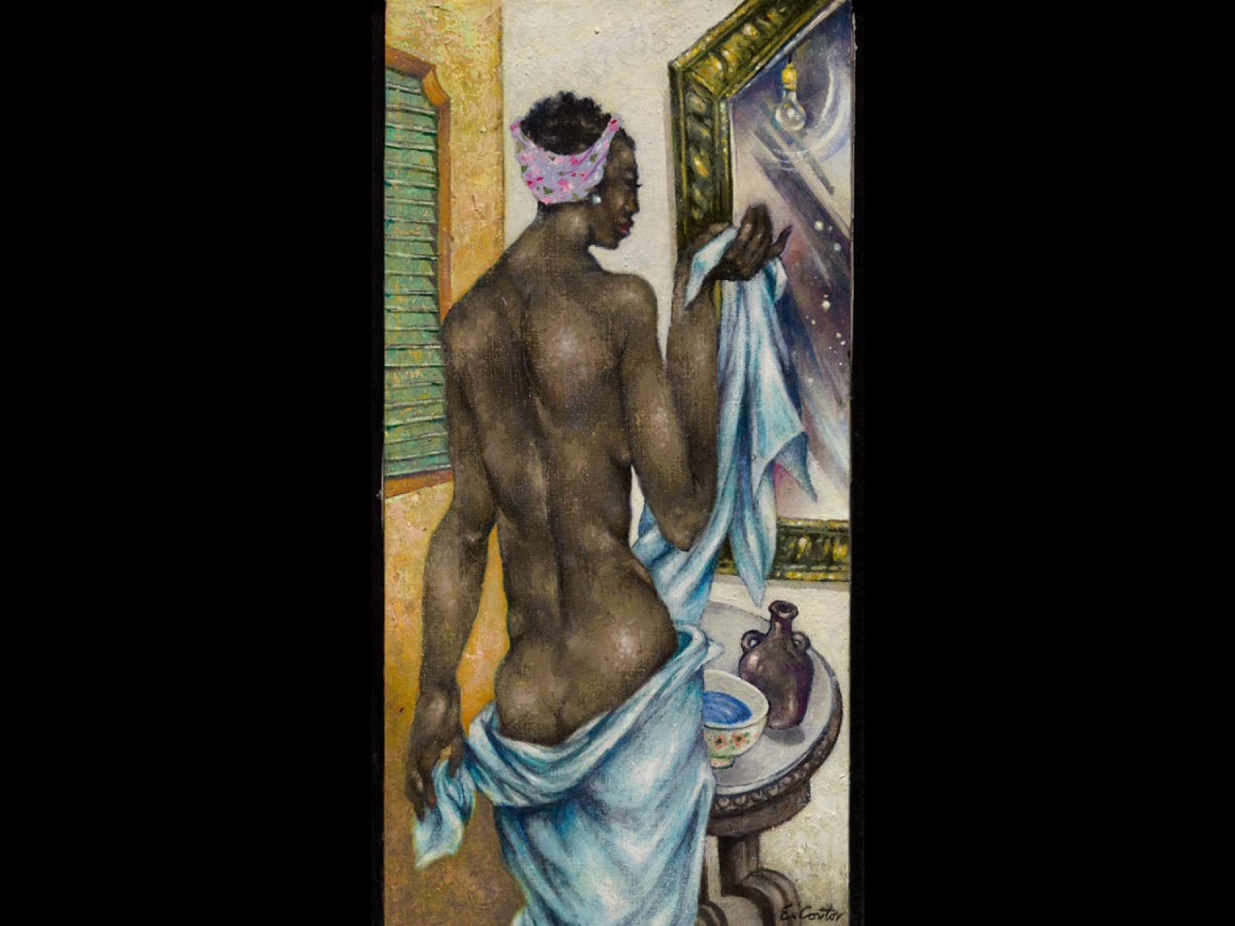 Eldzier Cortor's painting, Woman with a Mirror III