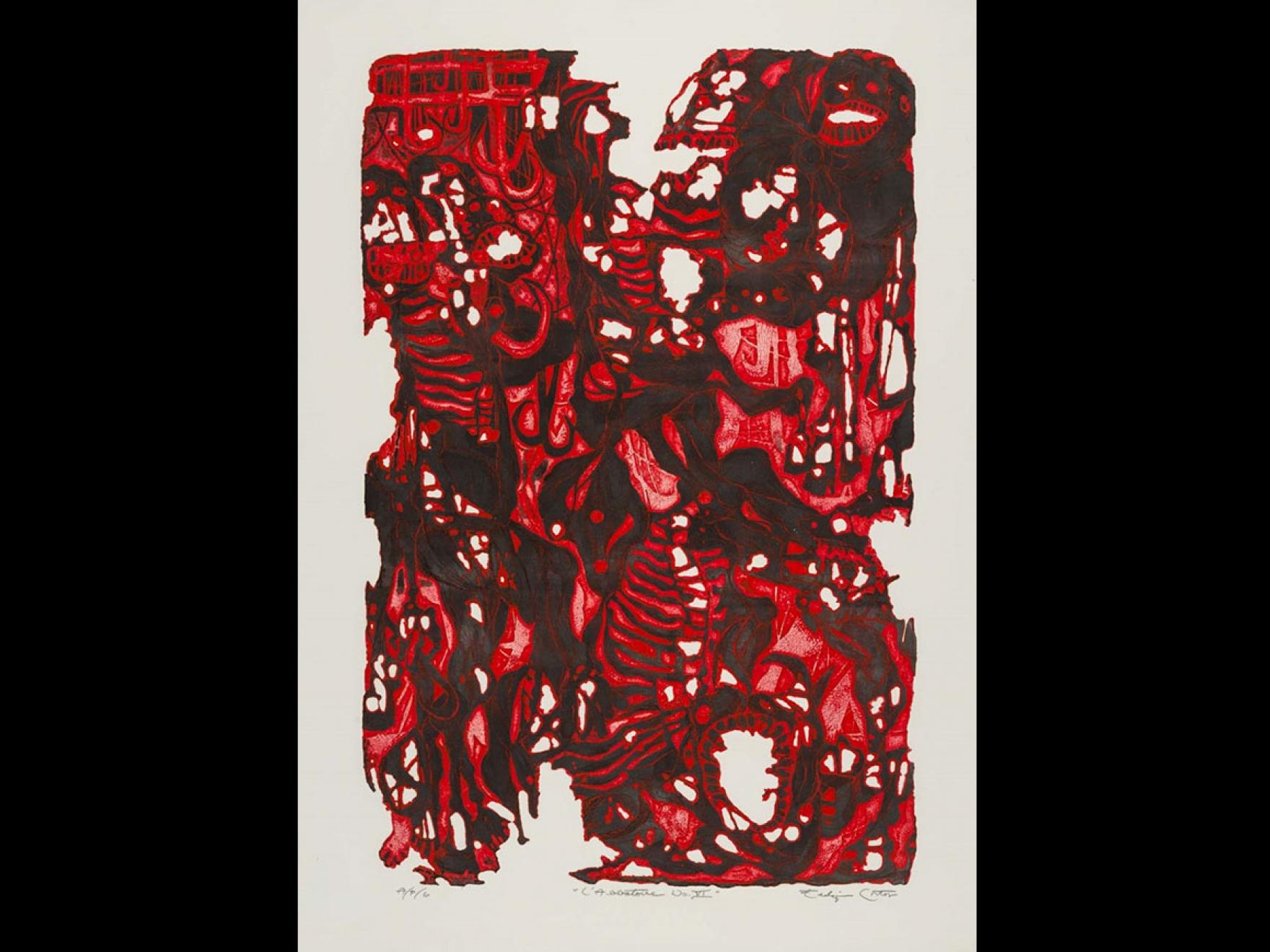 Eldzier Cortor's print, L'Abbatoire No. VI