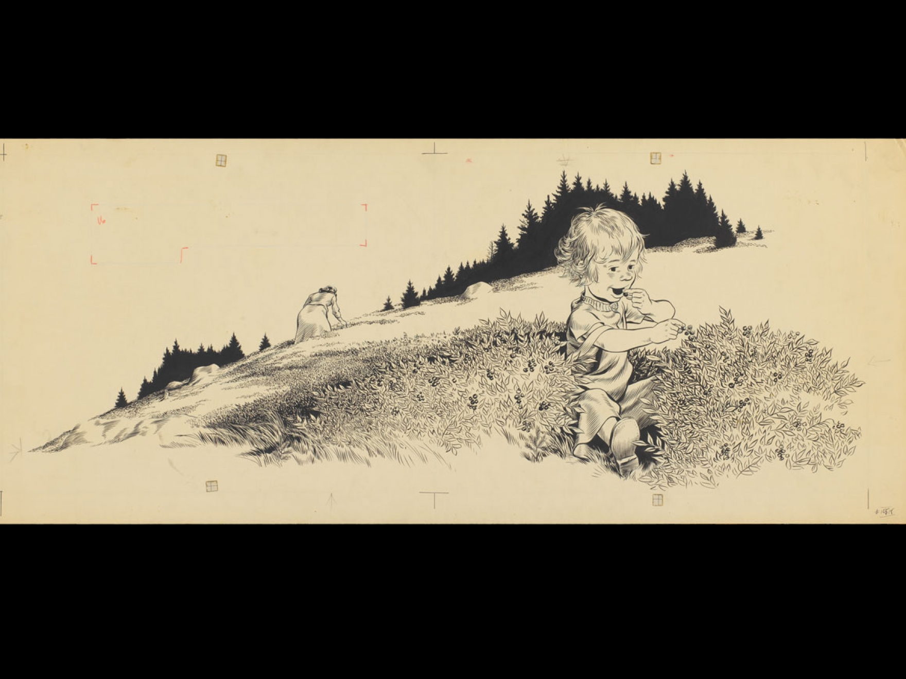 """Robert McCloskey's drawing for Blueberries for Sal (""""Her mother went back to her picking, but Little Sal . . . sat down in the middle of a large clump of bushes and ate blueberries,"""")"""