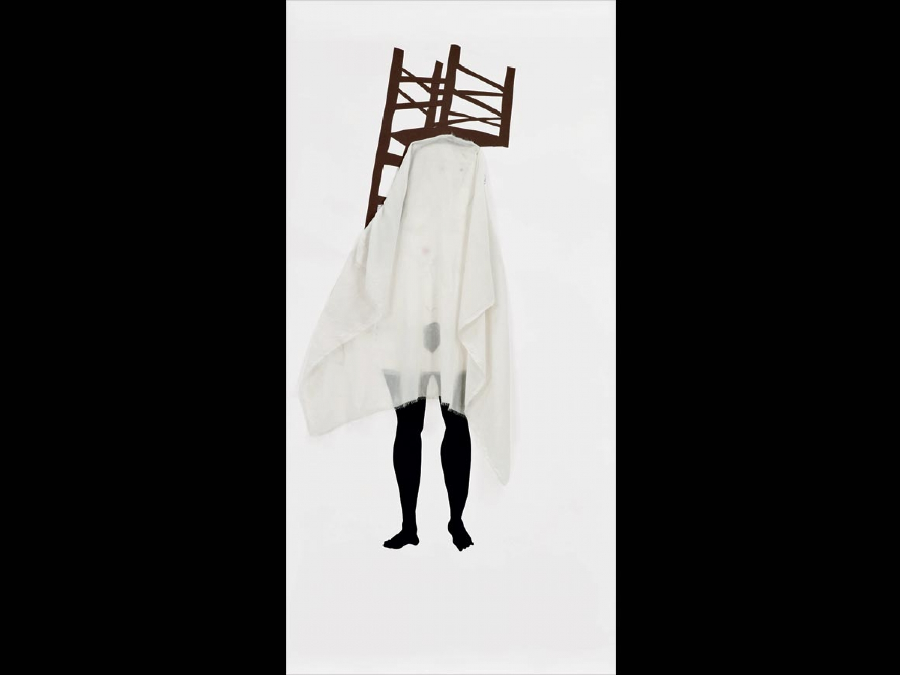 Mixed media on paper figure covered in a sheet with a chair on top of their head