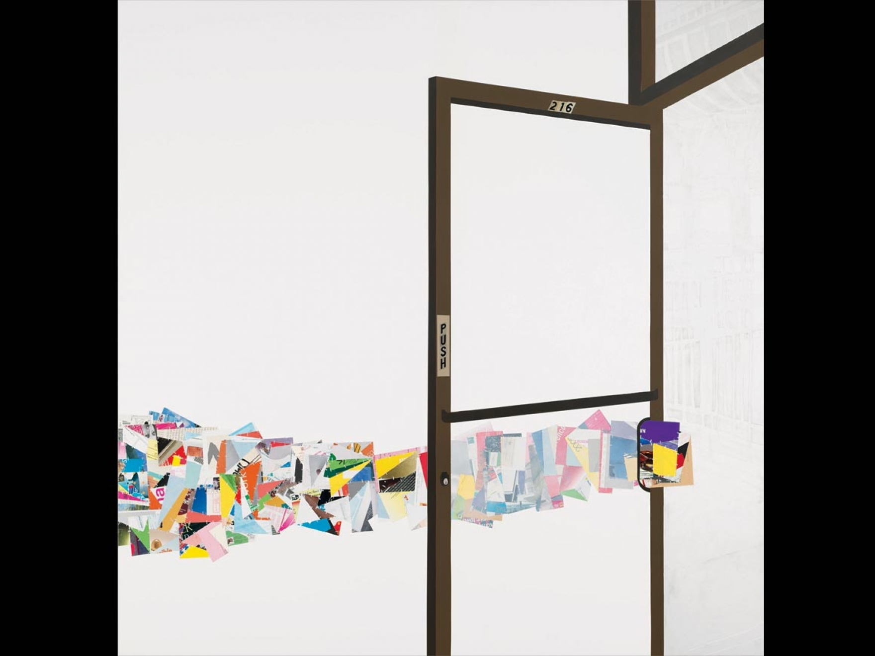 Mixed media collage of colorful squares being pushed out of a door