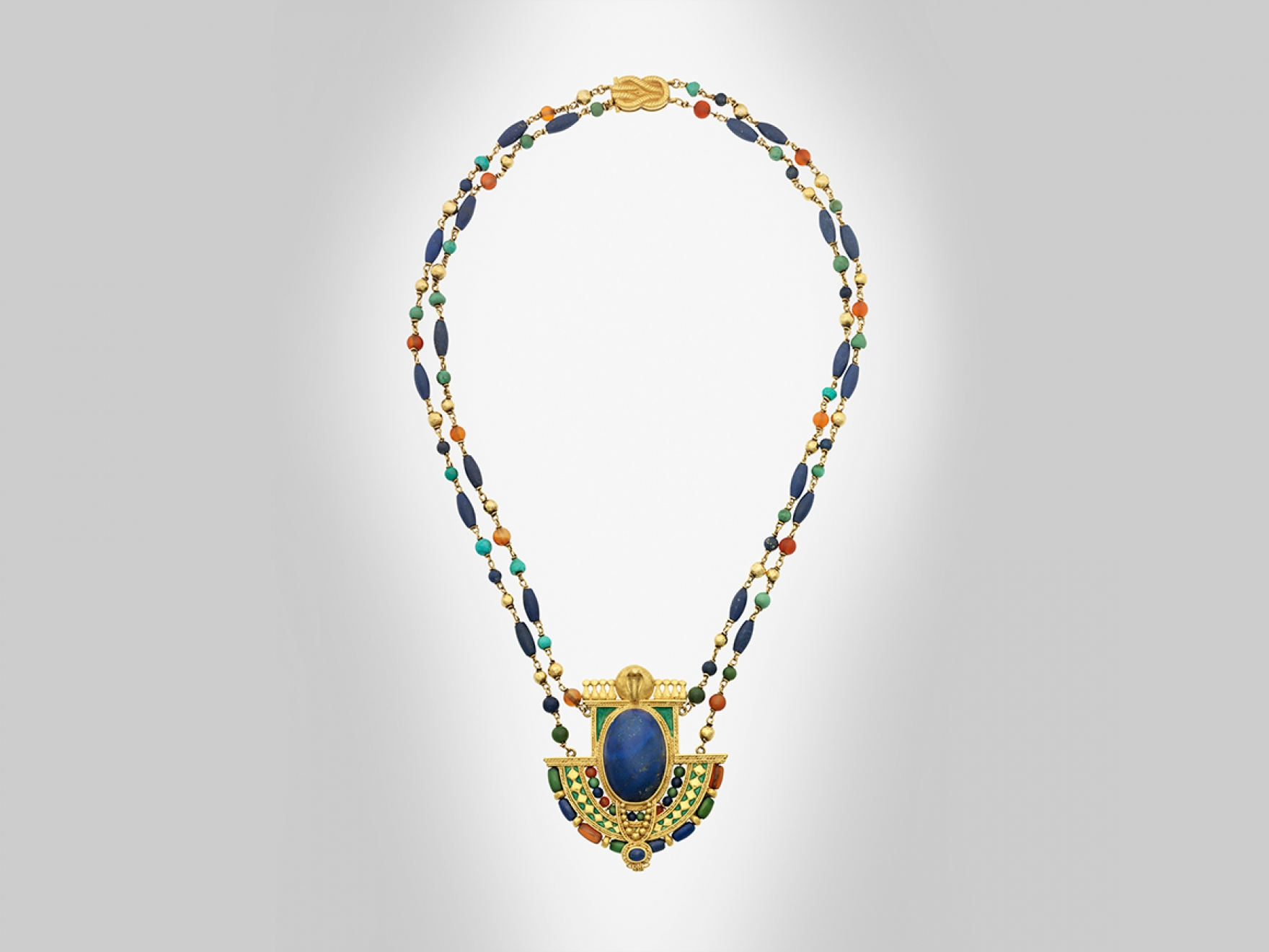 Louis Comfort Tiffany, Egyptian revival necklace made of Gold, lapis lazuli, amber, and turquoise.