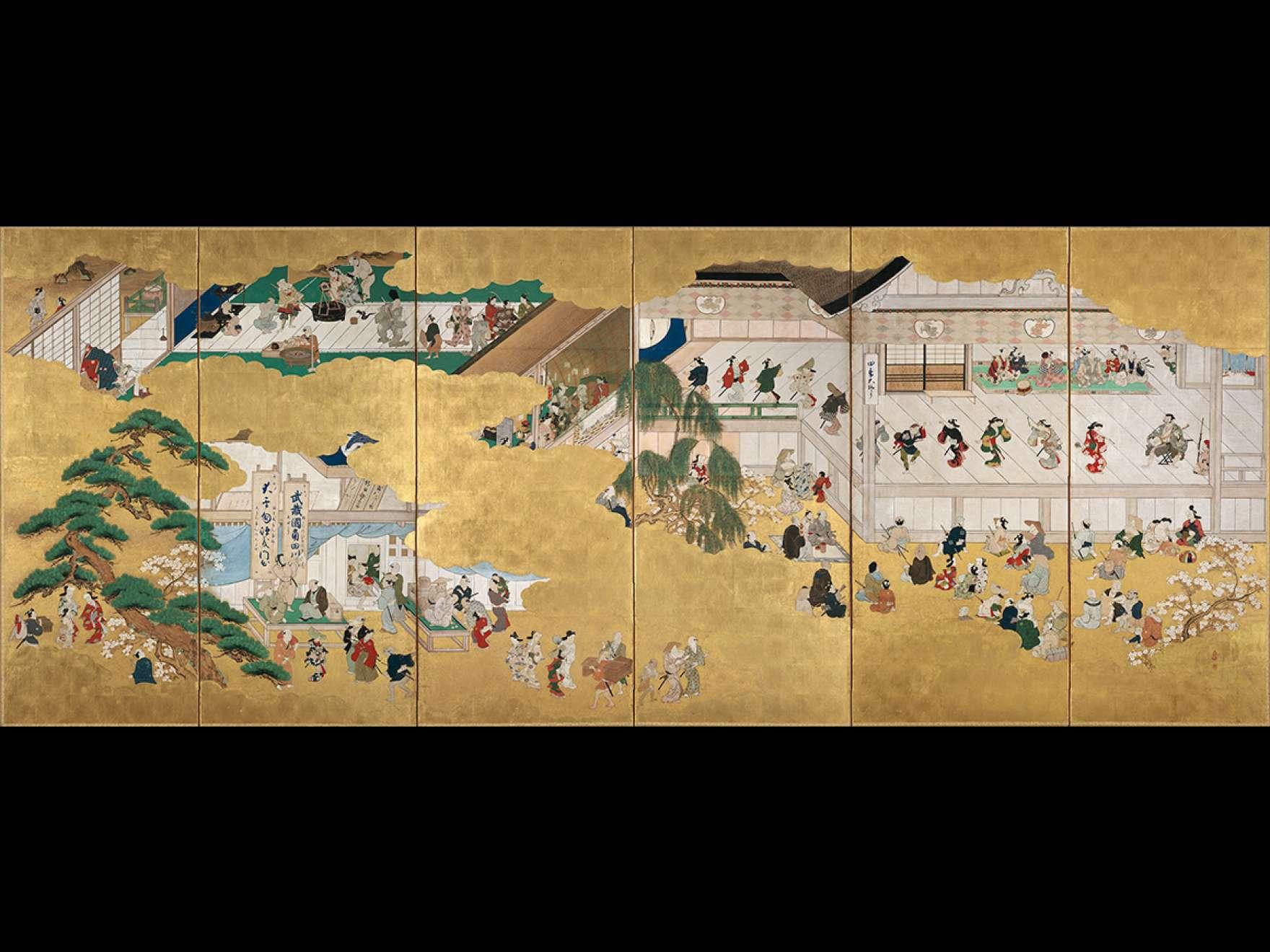 Attributed to Hishikawa Moronobu, Scenes from the Nakamura Kabuki Theater, 1684–1704