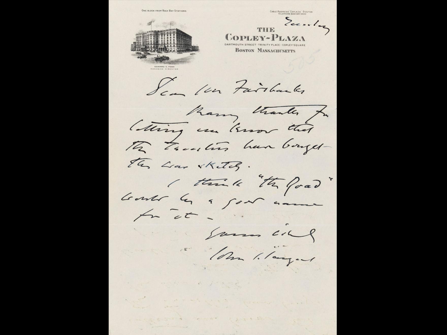 John Singer Sargent to Mr. Clark, Nov 23, 1923