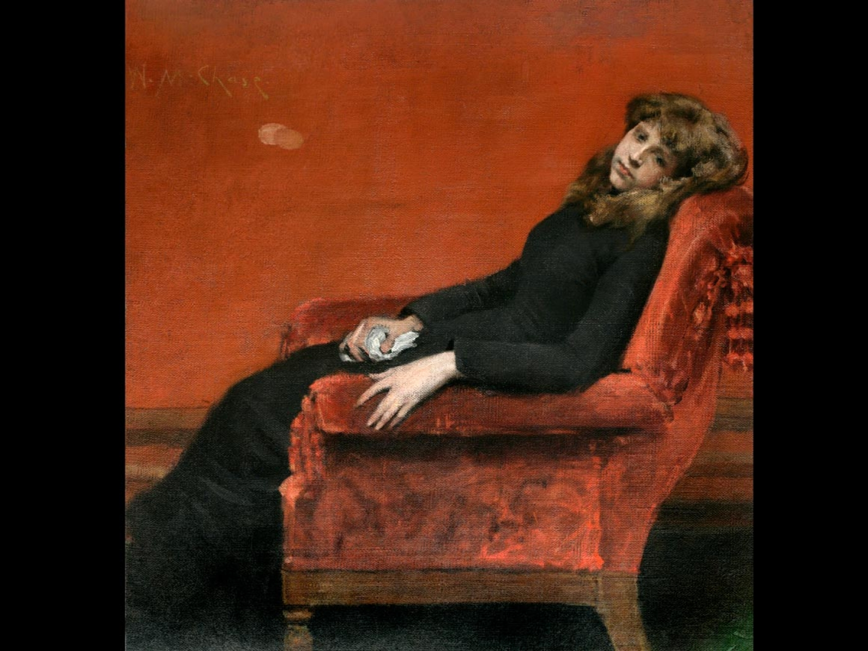 Painting of woman slumped in a chair