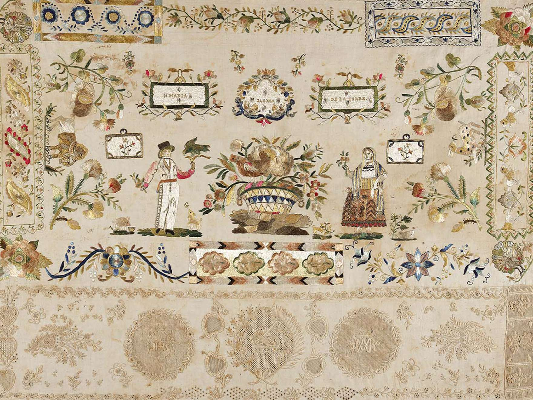 Maria Jacoba de la Torre's embroidered linen, Sampler, from the early 19th century