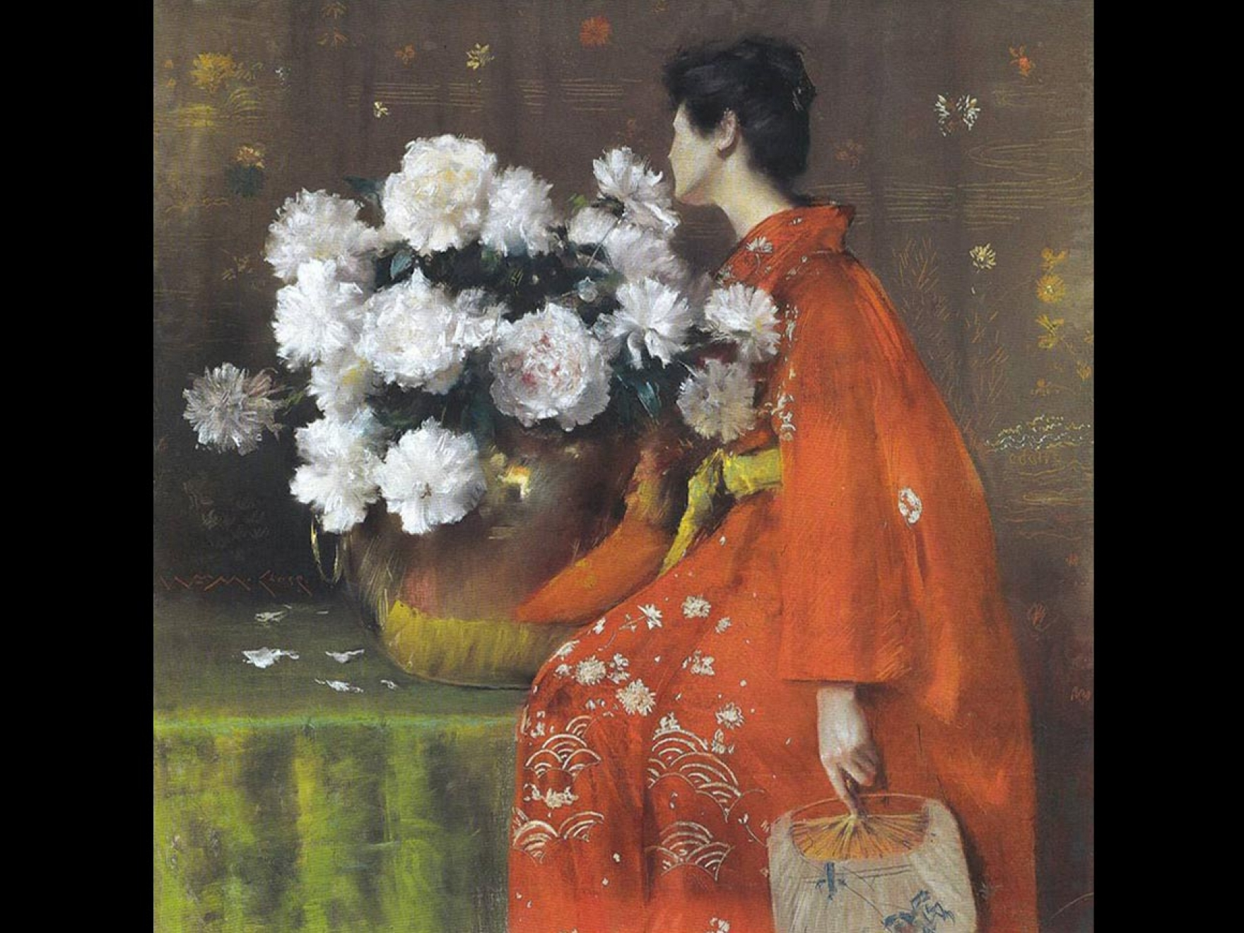 Portrait of woman in kimono facing peonies