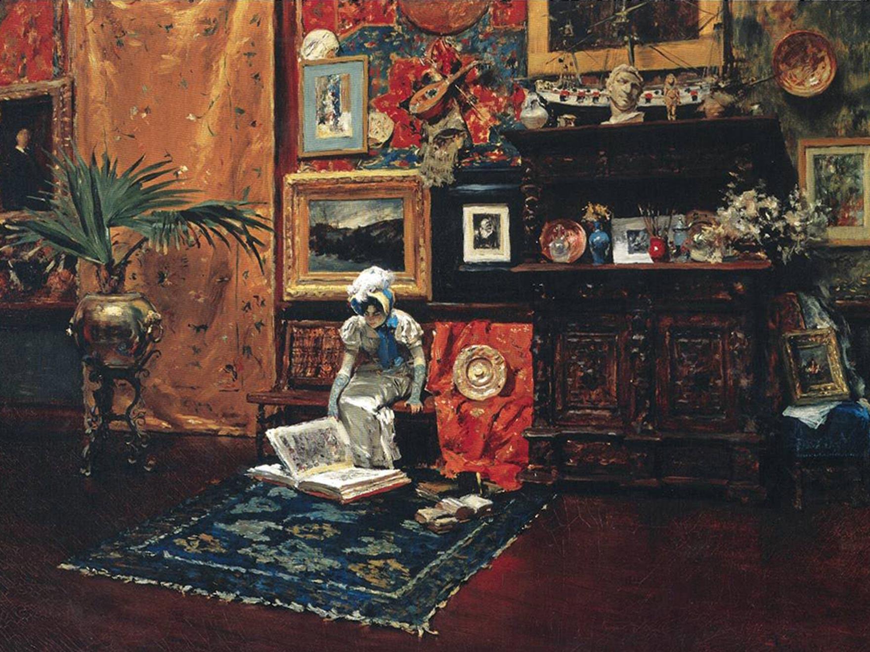 Impressionist painting of studio interior