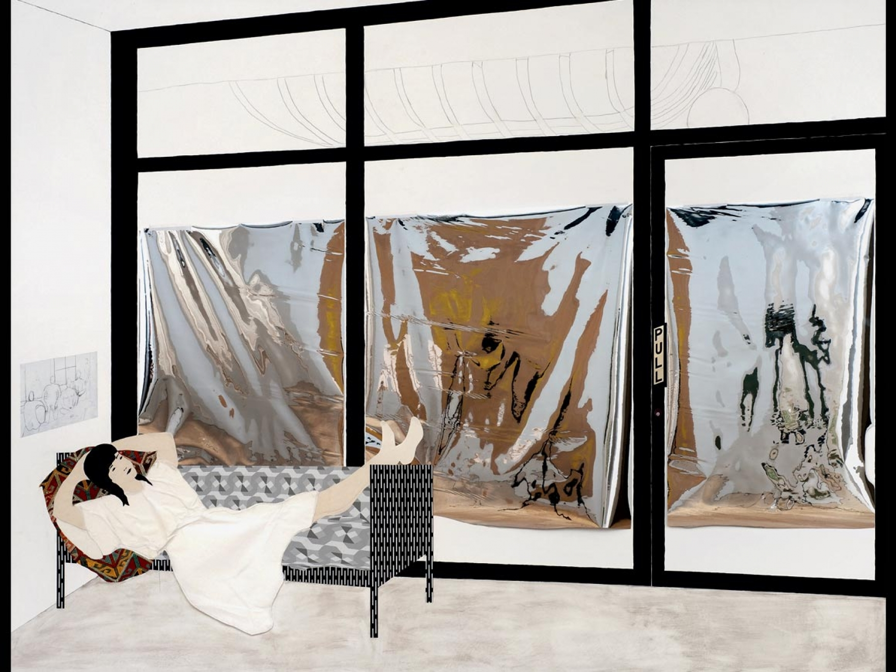 Mixed media collage of woman figure lounging on couch
