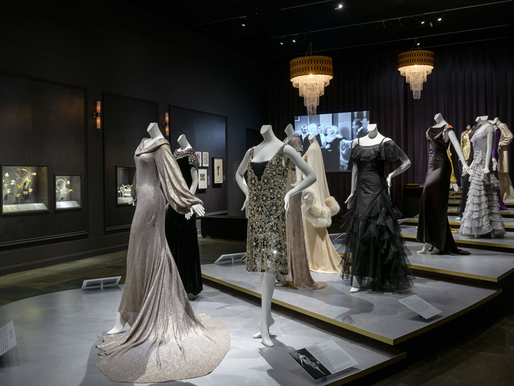 mannequins in gowns from 1930s and 1940s Hollywood stars