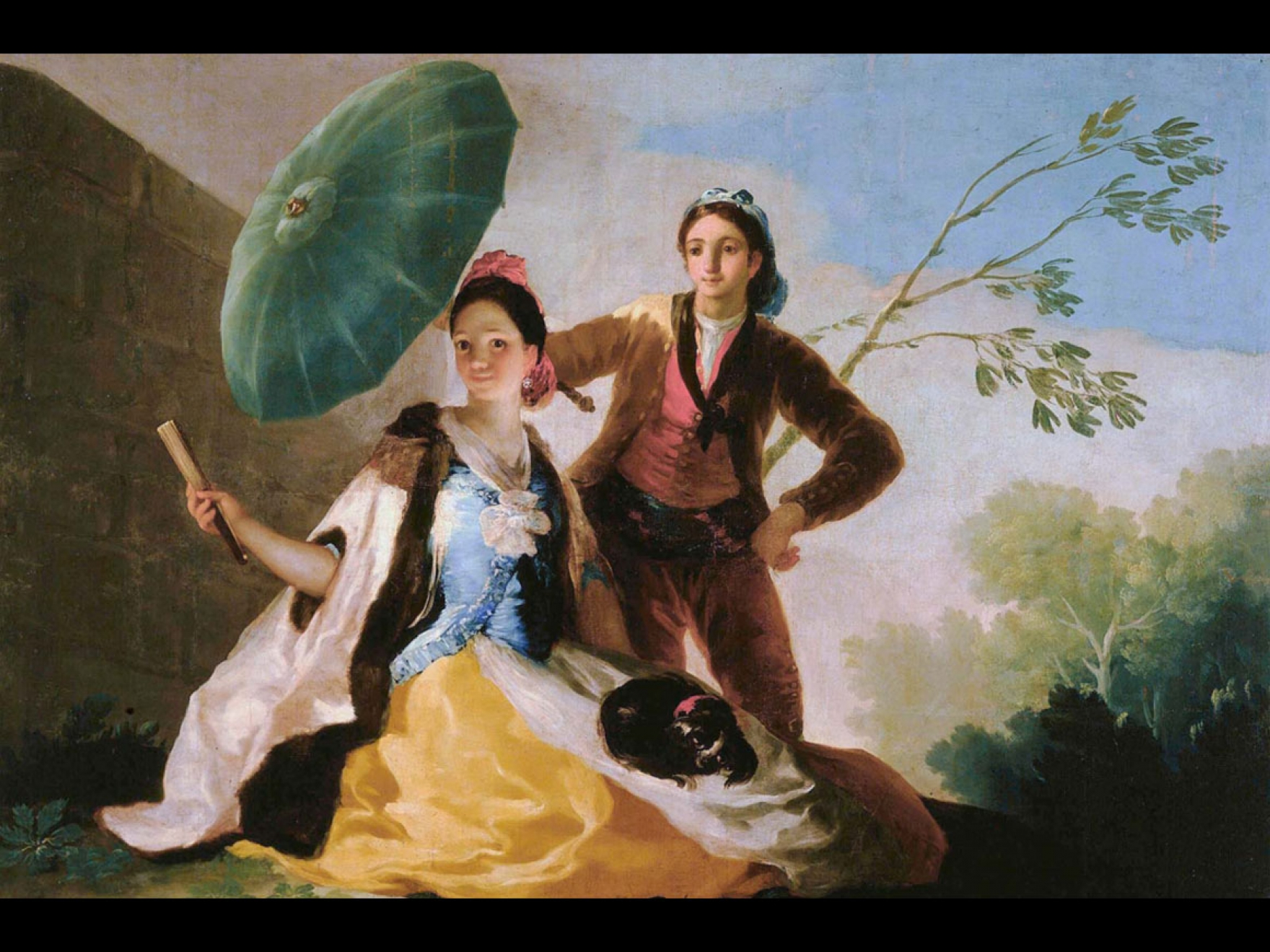 Oil painting on canvas of a couple with a parasol